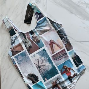 KOAJ Stamped Picture Snap Sleeveless Bodysuit